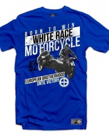 "EB T-Shirt ""White Race Motorcycle"" – Royal Blue"
