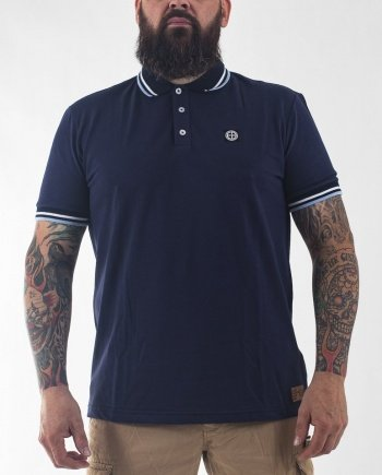 EB Short Sleeve Classic Polo – Navy/Sky Blue